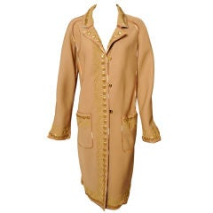 Fendi Gold Beaded & Gold Soutache Embroidered Coat