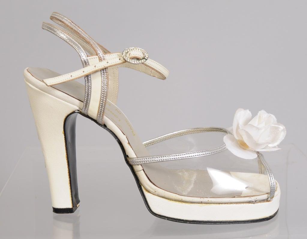 Beige Terry De Havilland 1970's Vintage Wedding Shoes Silver Heart & Flower Decoration For Sale