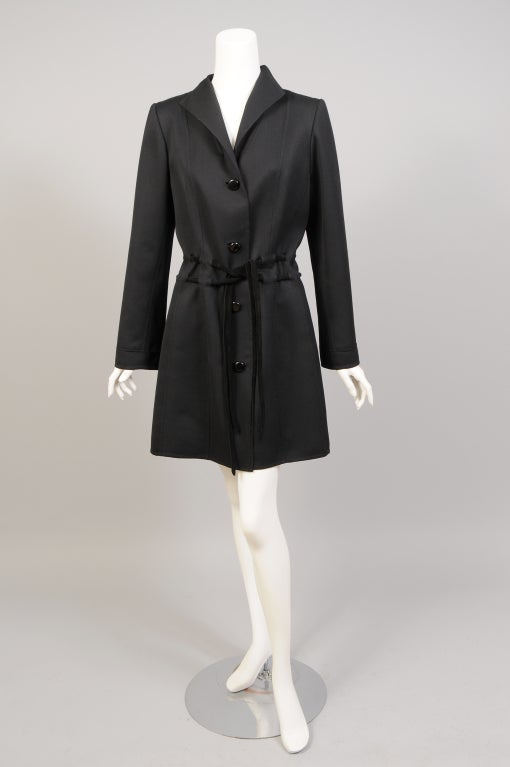 Raffaella Curiel Italian Light Weight Black Wool Coat Late 20th Century In Excellent Condition In New Hope, PA