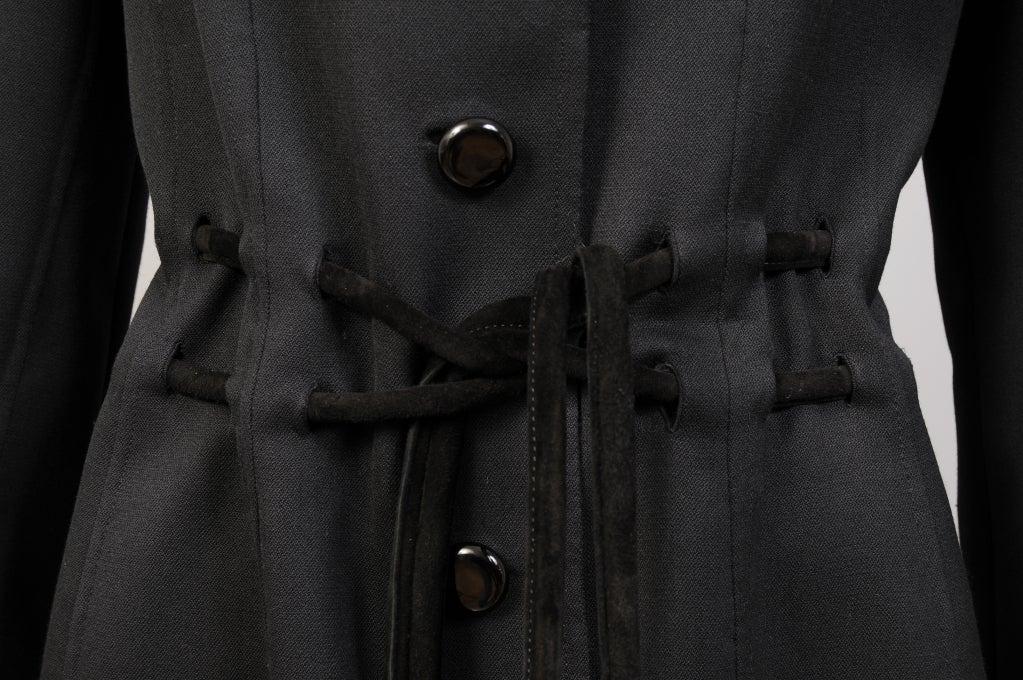 Women's Raffaella Curiel Italian Light Weight Black Wool Coat Late 20th Century