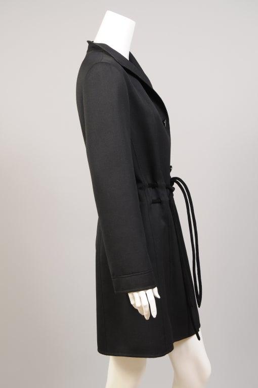 Raffaella Curiel Italian Light Weight Black Wool Coat Late 20th Century 1
