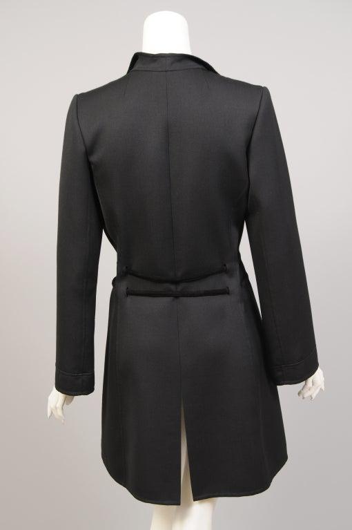 Raffaella Curiel Italian Light Weight Black Wool Coat Late 20th Century 2