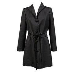 Raffaella Curiel Italian Light Weight Black Wool Coat Late 20th Century