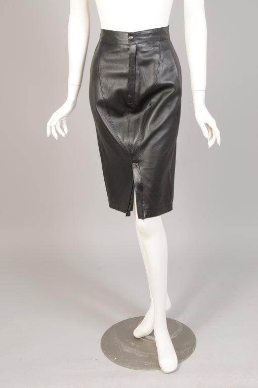 Black Alaia Leather Skirt For Sale