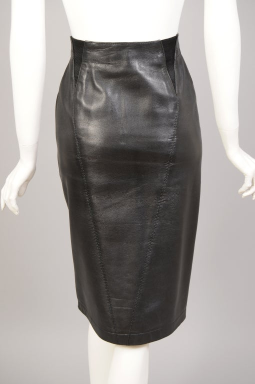 Women's Alaia Leather Skirt For Sale