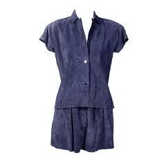 Mario Valentino Navy Blue Suede Top & Shorts