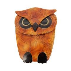 Lea Stein Owl Pin