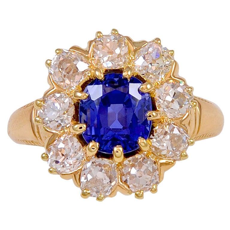 Tiffany & Co. Cushion Shaped Natural No Heat Sapphire Gold Ring