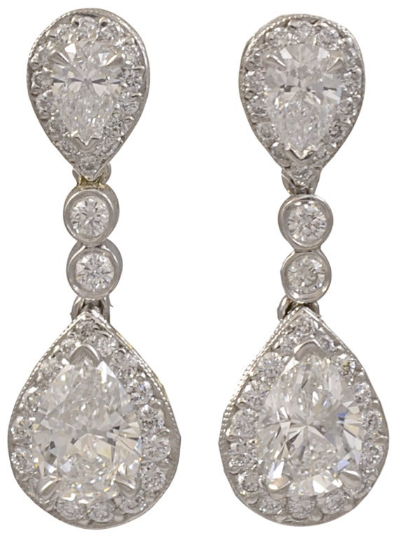 Diamond and Platinum Drop Earrings 2