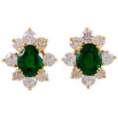 Kurt Wayne Oval Emerald Diamond Gold Omega Clip/Post Back Earrings