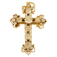 Victorian Era Old Mine Cut Diamond Gold Cross