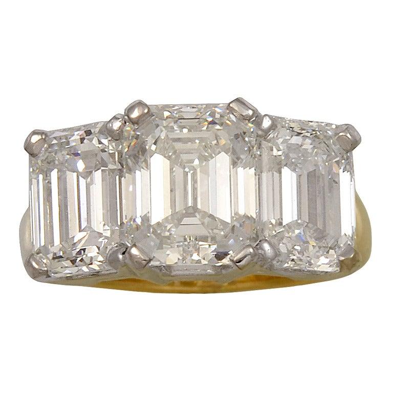 emerald cut gold platinum ring at 1stdibs