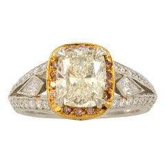 Michael Beaudry Cushion Diamond Platinum Ring