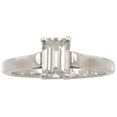 Tiffany & Co. Emerald Cut Diamond Platinum Ring