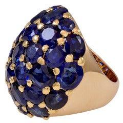 Rare Seaman Schepps Sapphire Gold Ring