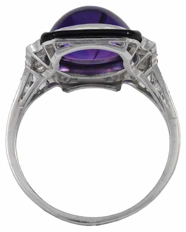 Art Deco Tiffany & Co. Enamel Cabochon Amethyst Diamond Platinum Ring