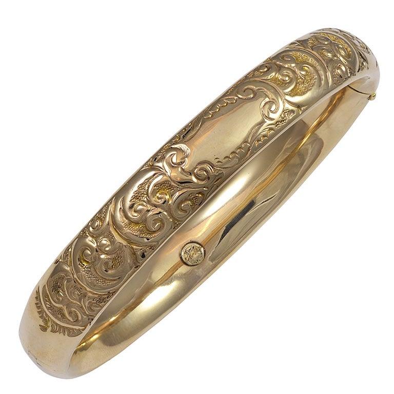 engraved gold bangle bracelet at 1stdibs