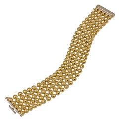 Beaded Link Wide Gold Bracelet