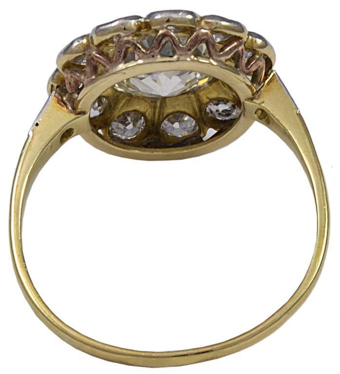 Women's Victorian Old Mine Cut Diamond Gold Ring For Sale
