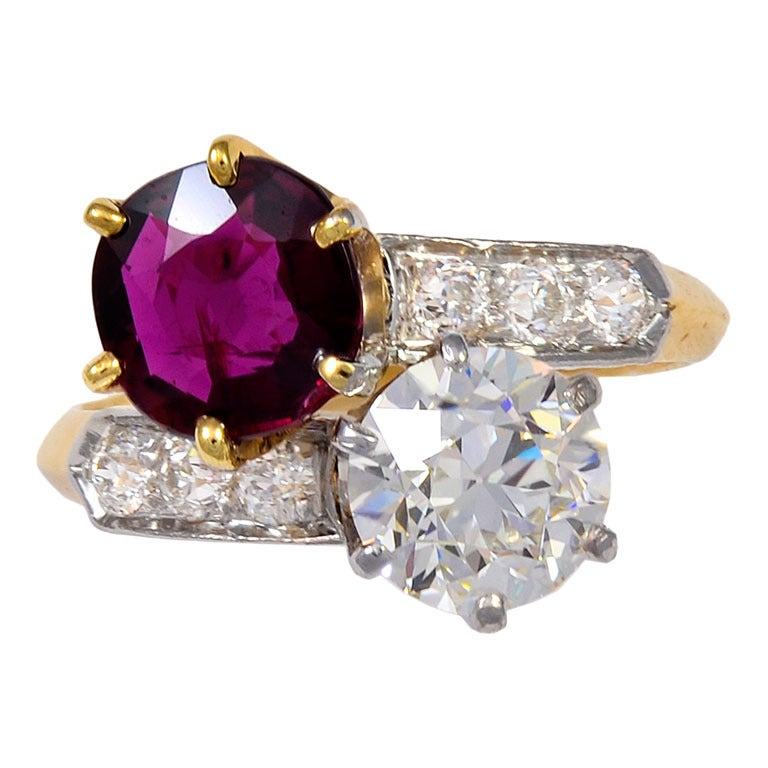Tiffany And Co Ruby Diamond Bypass Ring At 1stdibs