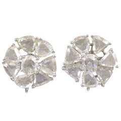 Triangular and Round Rose Cut Diamond Gold Floral Earrings