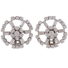Diamond Circle Cluster White Gold Clip Earrings