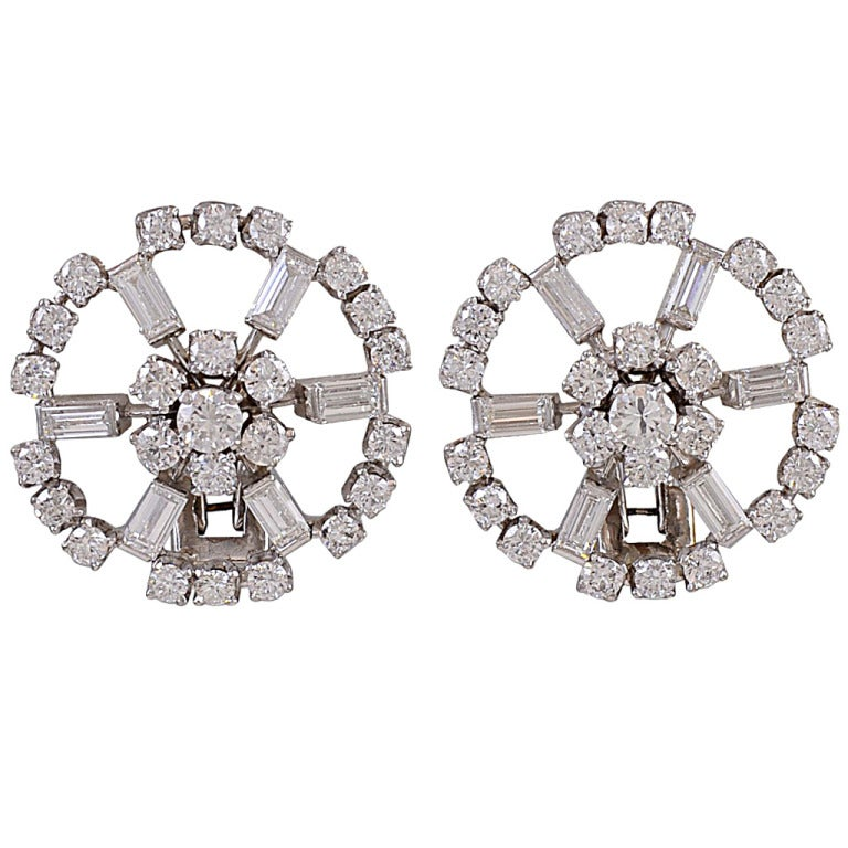 Diamond Circle Cluster White Gold Clip Earrings 1