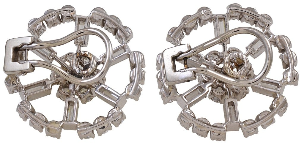 Diamond Circle Cluster White Gold Clip Earrings 2