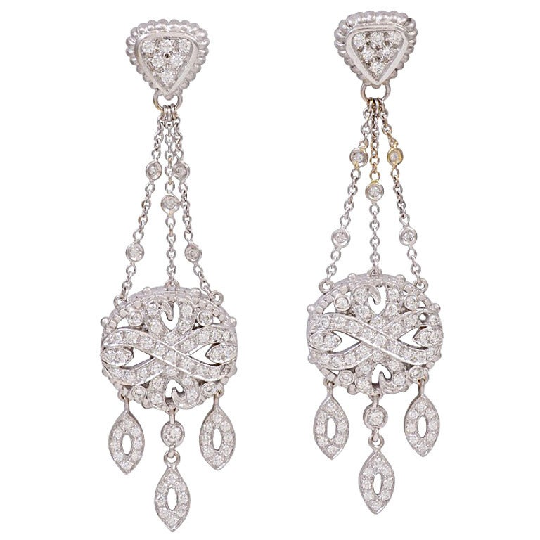 Doris Panos Diamond White Gold Chandelier Earrings At 1stdibs