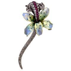 Enamel Cabochon Ruby Rose Cut Diamond Orchid Brooch