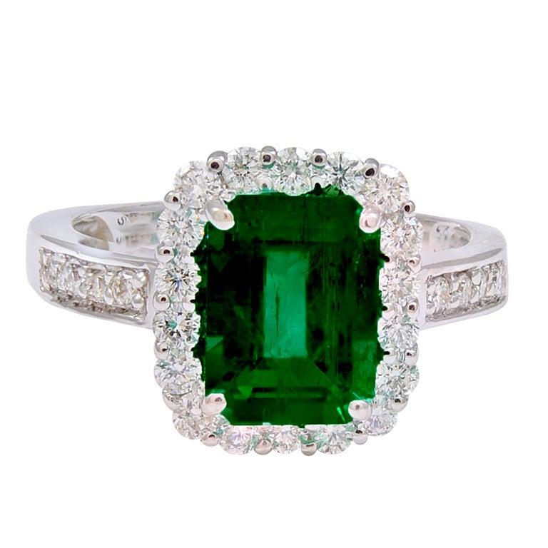 Emerald Diamond White Gold Ring