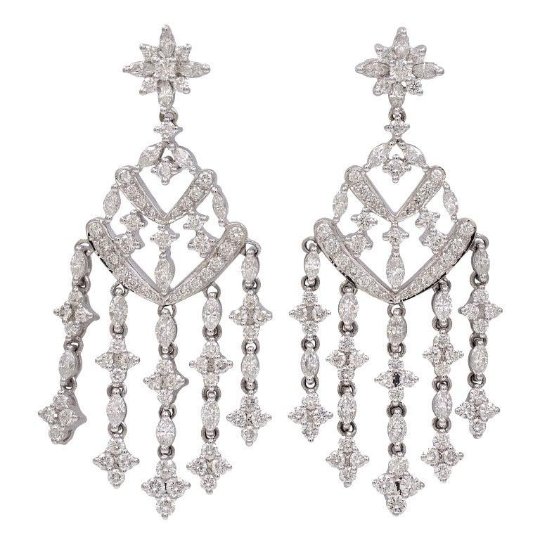 Kwiat Diamond Gold Chandelier Earrings