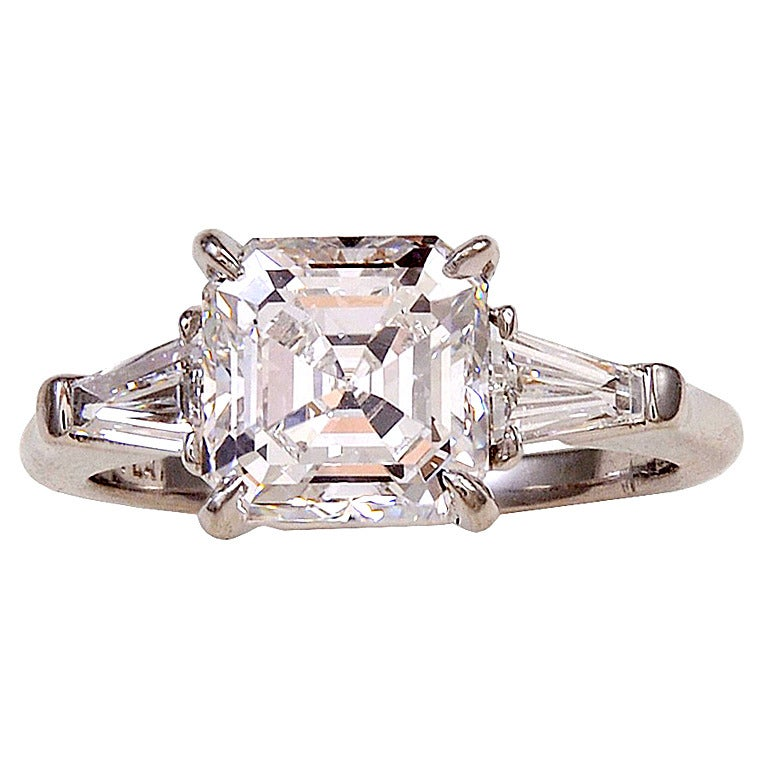 Asscher Diamond Ring With Tapered Baguettes