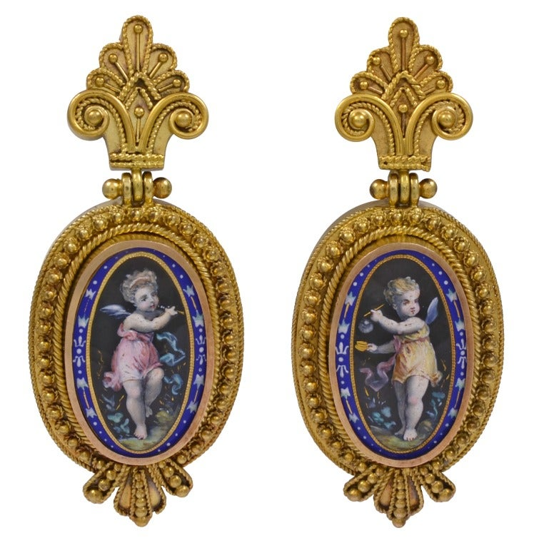Victorian Enamel Gold Locket Earring Set In Excellent Condition For Sale In Washington, DC