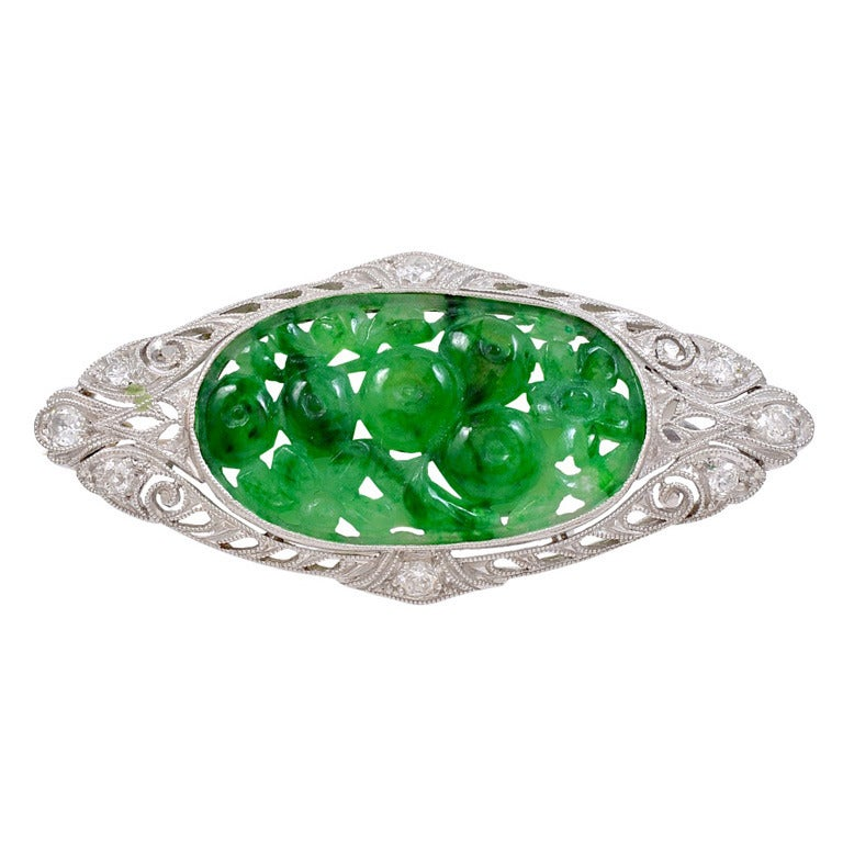 Art Deco Carved Jadeite Jade Platinum Brooch At 1stdibs