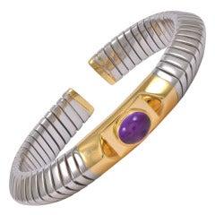 Bulgari Cabochon Amethyst Steel Gold Flexible Bangle Bracelet