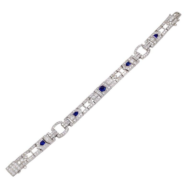 Art Deco Cabochon Sapphire Diamond Platinum Link Bracelet