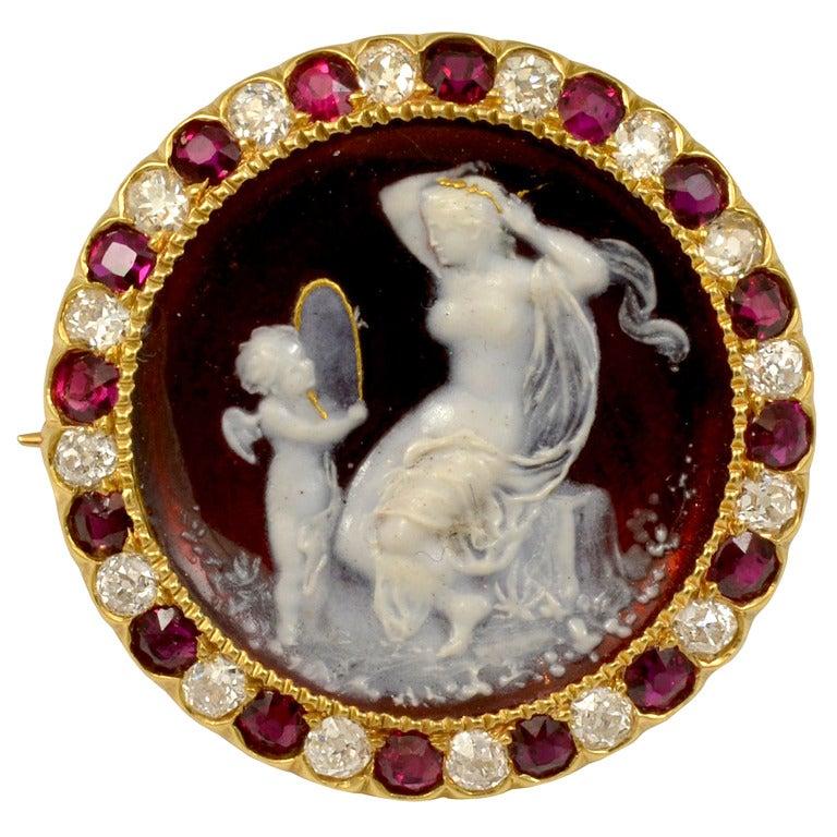 Tiffany & Co. Red Enameled Venus and Cupid Cameo Ruby Diamond Pin 1