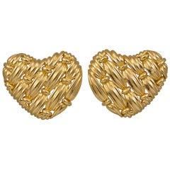 Tiffany & Co. Signature Series Woven Heart Gold Earrings