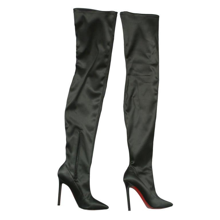 christian louboutin stunning black satin evening thigh