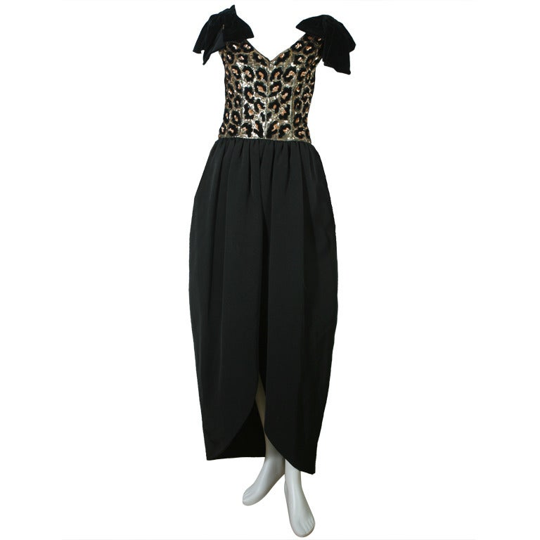 1980s Dior Black Ottoman And Velvet Evening Gown At 1stdibs