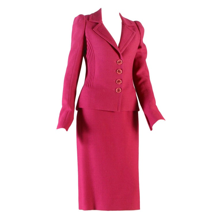 2000 39 s glamorous dior haute couture raspberry wool crepe for Haute couture suits