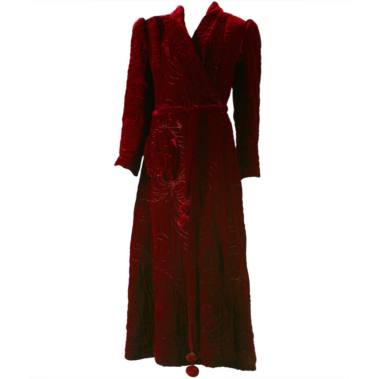 1940S Fabulous french haute couture crimson silk velvet ...
