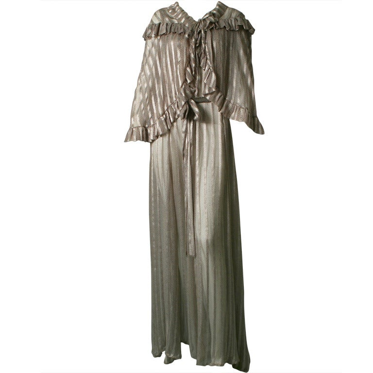 1930 french haute couture printed chiffon evening ensemble for French haute couture
