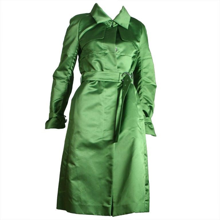 Celine Superb Emerald Green Silk Satin Trench Coat At 1stdibs