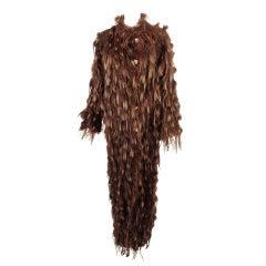 Fendi Brown Suede & Fur Tufts Long Reversible Coat, Wood Buttons