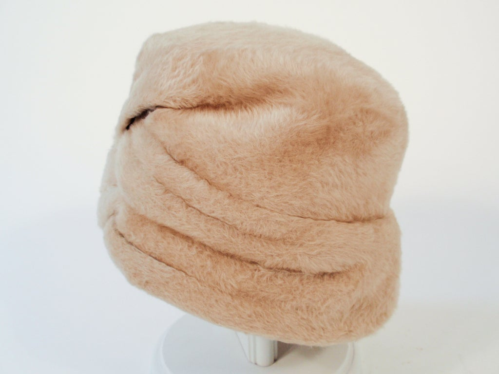 Lanvin by Castillo for Saks 5th Ave Beige Felted Fuzzy Turban Hat, 1960s For Sale 1
