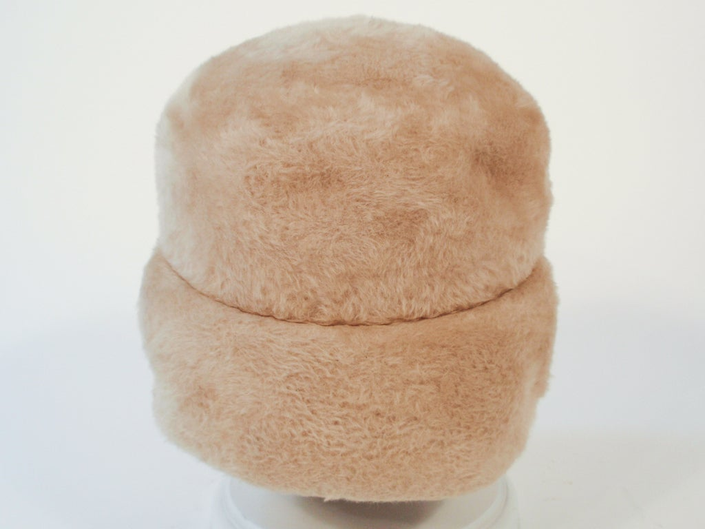 Lanvin by Castillo for Saks 5th Ave Beige Felted Fuzzy Turban Hat, 1960s For Sale 2