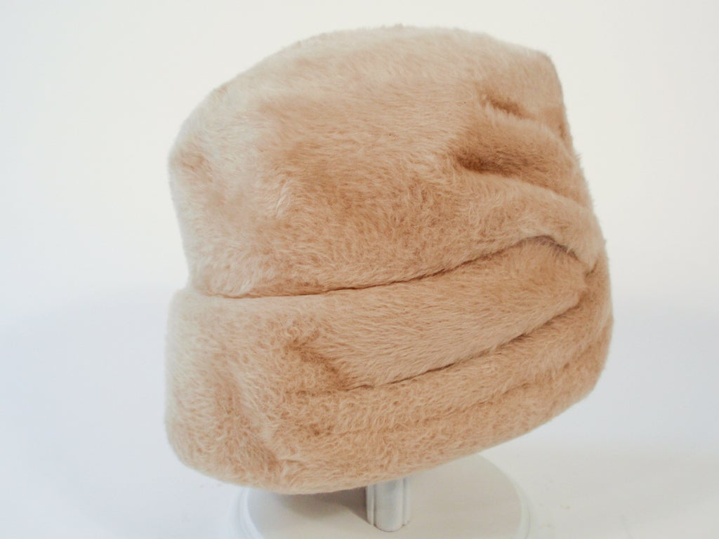 Lanvin by Castillo for Saks 5th Ave Beige Felted Fuzzy Turban Hat, 1960s For Sale 3