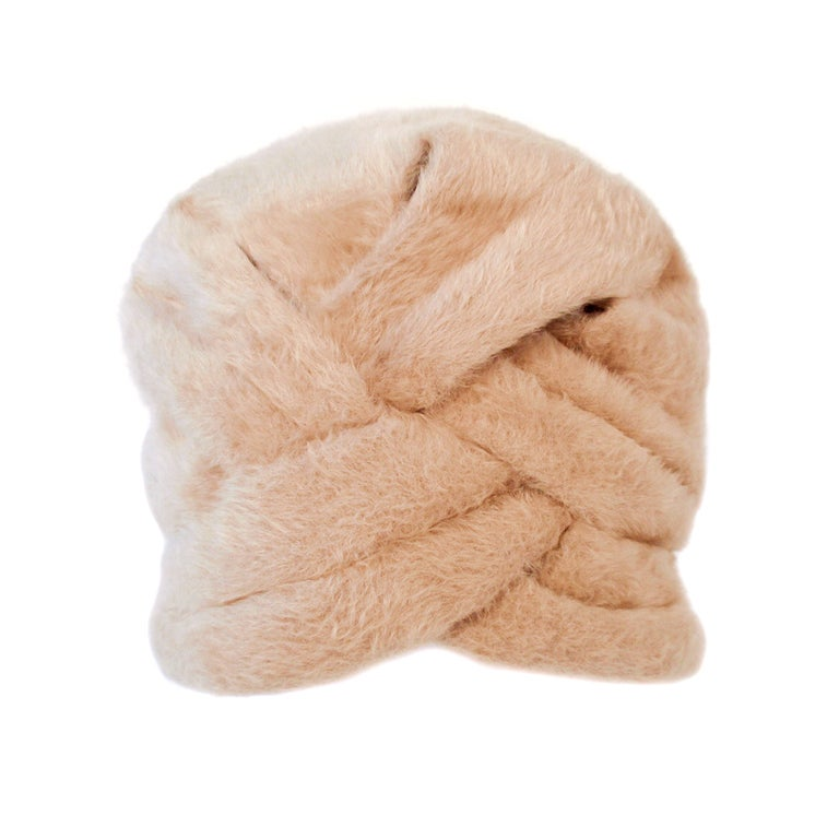 Lanvin by Castillo for Saks 5th Ave Beige Felted Fuzzy Turban Hat, 1960s For Sale